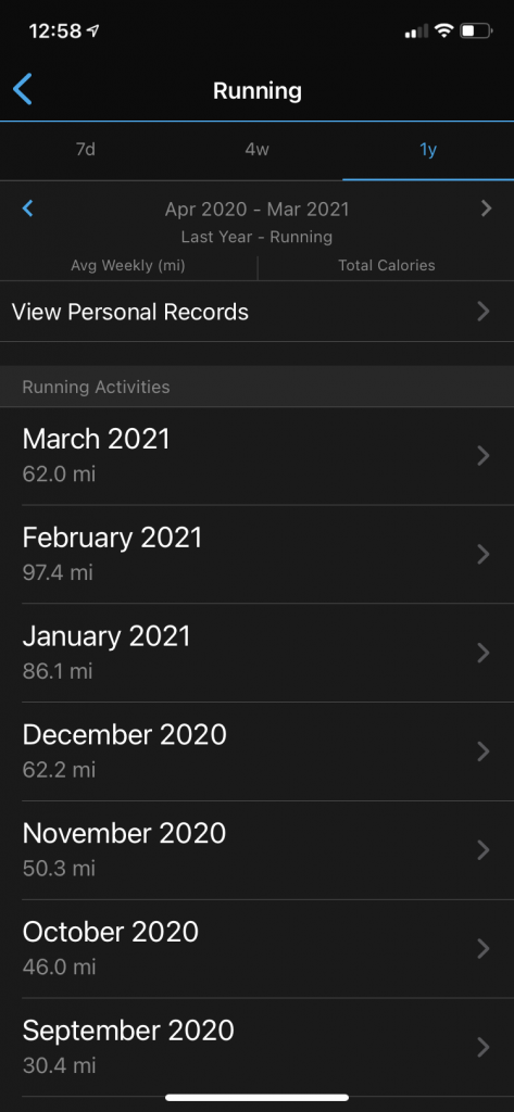 Using Garmin Connect app to track monthly mileage - a digital, mobile running log