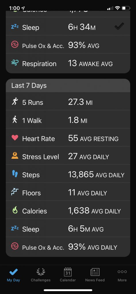 Using Garmin Connect app to keep track of weekly stats - a digital, mobile running journal