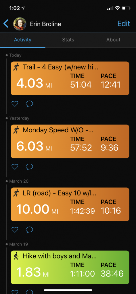 Using Garmin Connect app to keep track of recent workouts - a digital, mobile running log