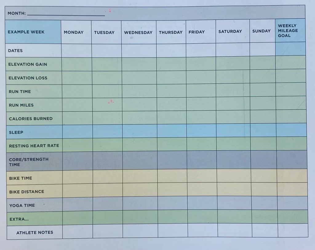 Weekly Running Log Spreadsheet