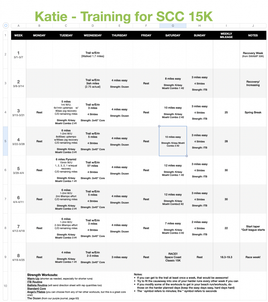 Creating a spreadsheet to plan running workouts